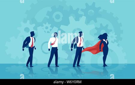 Vector of a super hero business woman leader and her team of businessmen - Stock Photo