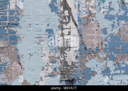 Abstract background of an old brick wall with expressive spots in gray and blue colors. Inimitable pattern - Stock Photo