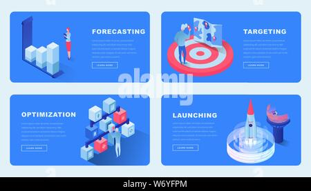 Business projects isometric landing pages set. Cartoon 3d analysts, experts planning, forecasting startup development vector illustrations. Targeted marketing and optimization website design layout - Stock Photo