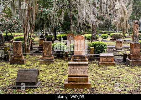 The Christ Church cemetery in St. Simons Island, Georgia. The cemetery surrounds the church and dates to 1803. - Stock Photo