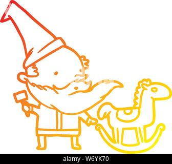 warm gradient line drawing of a santa (or elf) making a