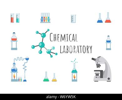 Chemical laboratory equipment vector banner template. Lab glassware, beakers, flasks and test tubes. Modern high precision microscope, measuring cup on innovative research center poster design - Stock Photo