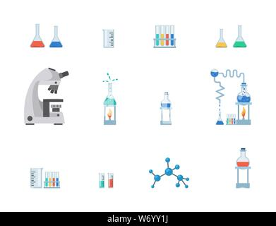 Lab equipment vector illustration set. Test tubes, chemistry beakers with liquids, measuring cup isolated on white background. Laboratory microscope, flasks heating system, molecule, virus structure - Stock Photo
