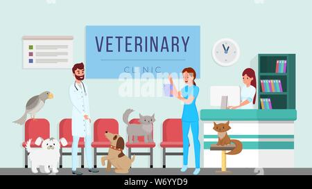 Veterinary clinic workers vector illustration. Vets, professional veterinarians checking domestic animals, pets health cartoon characters. Doctors assistant, hospital receptionist scheduling patients - Stock Photo