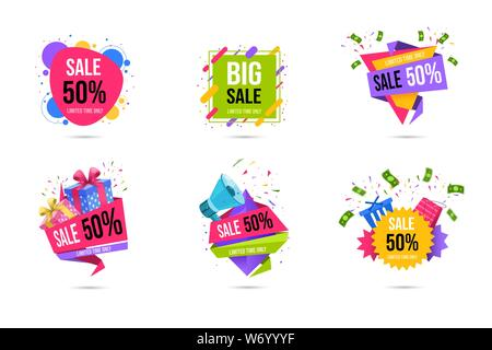 Shopping sales web banners templates set. Limited time half price, 50 percent off discount special offers for clients flat stickers pack. Store advertising campaign, promotional posters collection - Stock Photo