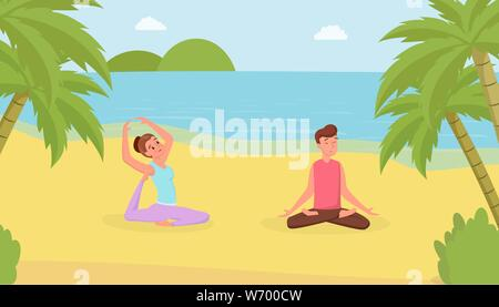 Yoga exercises flat vector illustration. Man and woman doing yoga on beach, meditating guy and girl in triangle pose cartoon characters. Satisfied wife and husband training on vacation - Stock Photo