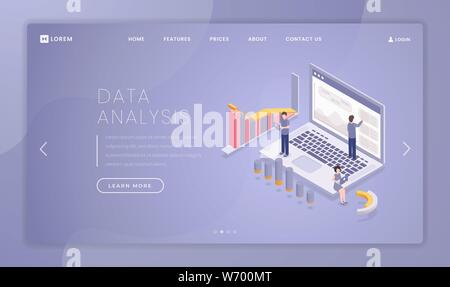 Financial data analysis landing page template. Stock market trading website homepage interface idea with isometric illustrations. Professional business analytics web banner, webpage cartoon concept - Stock Photo