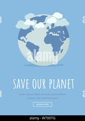 Earth day celebration landing page template. Save planet motto, environmental protection slogan typography. International nature conservation event, April 22 holiday website page design layout - Stock Photo