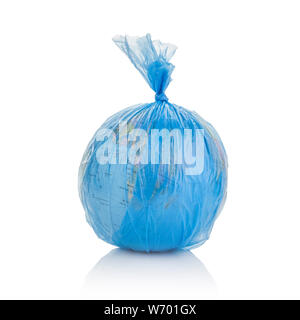 Globe of planet Earth dressed in a garbage plastic bag isolated on white. - Stock Photo