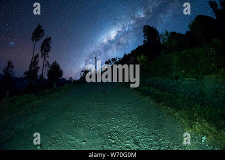 Milky way galaxy stars shining in the sky at night above pine trees in Bromo Semeru National park, Java Indonesia - Stock Photo
