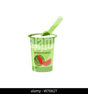 Packing yogurt with a teaspoon. Watermelon-flavored yogurt. Vector illustration - Stock Photo