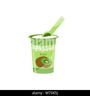 Packing yogurt with a teaspoon. Kiwi Yogurt. Vector illustration - Stock Photo
