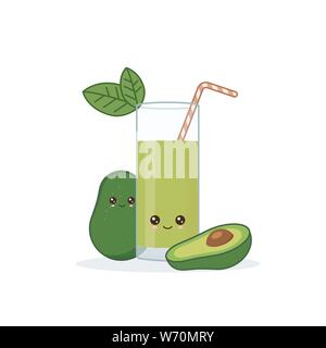 avocado juice. Cute kawai smiling cartoon juice with slices in a glass with juice straw. - Stock Photo