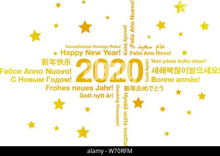 Happy New Year 2020 in different languages greeting card concept - Stock Photo