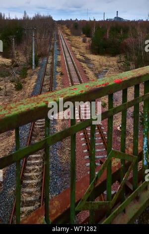Desolate Yaniv railroad station near Pripyat city, Chernobyl Exclusion Zone, Ukraine - Stock Photo