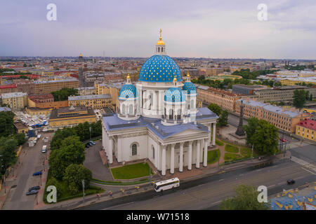 View of the Trinity Cathedral on a cloudy July morning. Saint-Petersburg, Russia - Stock Photo