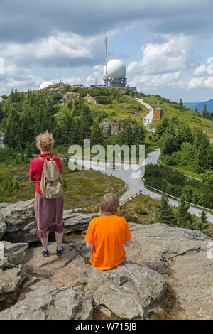 radome on the main summit, view from the south, Great Arber, Bavarian Forest, Bavaria, Germany - Stock Photo