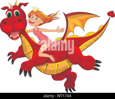 Little joyful girl sits astride a red dragon. Girl and flying dragon. - Stock Photo