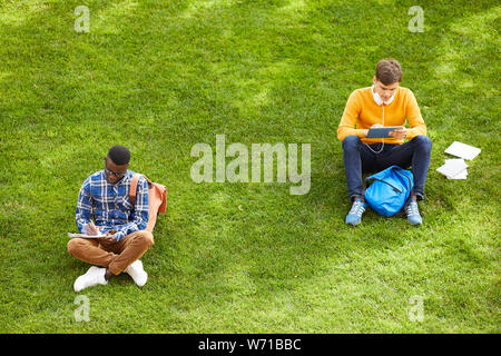 Wide angle portrait of two students sitting on green grass in college campus and studying outdoors, copy space