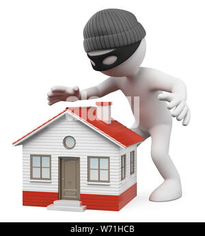 3d white people illustration. Thief spying a house to steal. Isolated white background. - Stock Photo