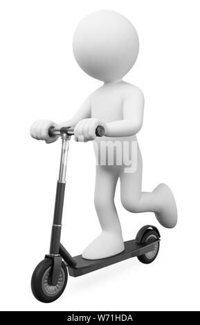 3d white people illustration. Man riding on a electric rental scooter. Isolated white background. - Stock Photo