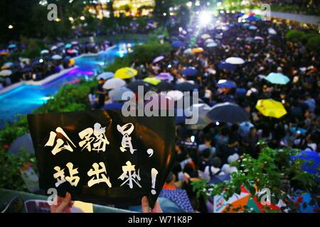 Hong Kong, China. 2th August 2019. Thousands of governmental civil servants joined in the anti-government protests in Hong Kong and calling the government to listening to the 5 public demands from recent anti-extradition movements. - Stock Photo