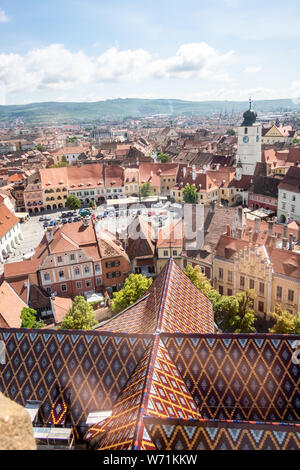 Panorama towards the east of Sibiu, Transylvania, Romania. View from the Cathedral of Saint Mary. Council Tower (Turnul Sfatului) and other landmarks - Stock Photo