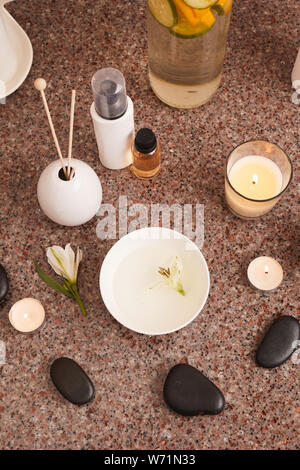 Above view background of candles set for aromatherapy in SPA, copy space - Stock Photo