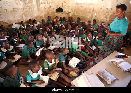Students in a classroom of a primary school in Nkhotakota. Malawi is one of the poorest countries in the world.