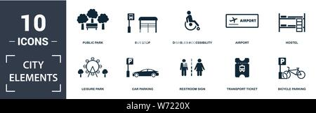 City Elements icon set. Contain filled flat disabled accessibility, public park, airport, car parking, street camera, food court, electric car station