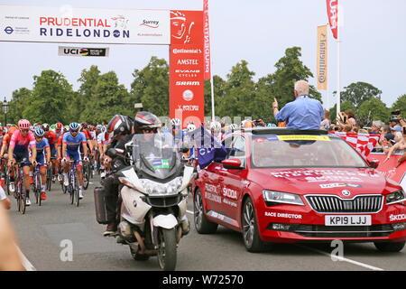 Prudential RideLondon-Surrey Classic 2019 start, Chestnut Avenue, Bushy Park, Hampton Court, Greater London, England, United Kingdom, UK, Europe