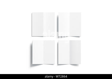 Blank white multi-page booklet mock up, opened top view, front, back, inside side, 3d rendering. Plain twofold brochures mockups set isolated. Folded - Stock Photo
