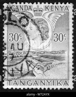 Stamp print in Uganda,Kenya,Tanganyika - Stock Photo