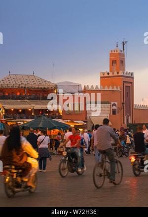 Evening Jem El Fna Square in Marrakesh. - Stock Photo