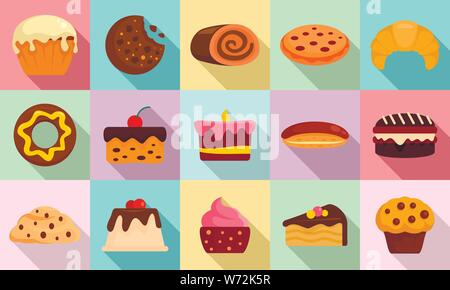 Confectionery icons set. Flat set of confectionery vector icons for web design - Stock Photo