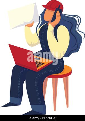 Woman engineer icon. Cartoon of woman engineer vector icon for web design isolated on white background - Stock Photo