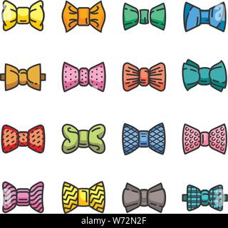 Bowtie icons set. Outline set of bowtie vector icons for web design isolated on white background - Stock Photo