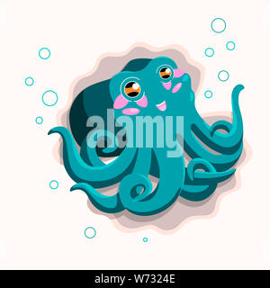 Cute blue octopus cartoon with bubbles and seashells. Happy illustration for kids - Stock Photo