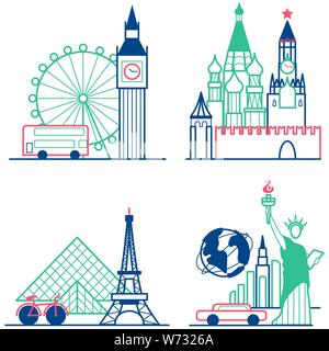 Travel icons set. Themed icons of London, Paris, New York and Moscow linear symbols collection. Showplace isolated vector illustration - Stock Photo