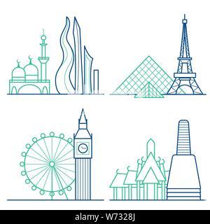 Travel icons set. Themed icons of London, Paris, Bangkok and Dubai linear symbols collection. Showplace isolated vector illustration - Stock Photo