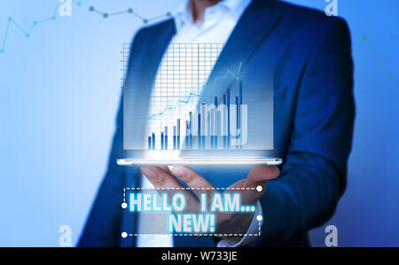 Word writing text Hello I Am New. Business photo showcasing used as greeting or to begin telephone conversation - Stock Photo