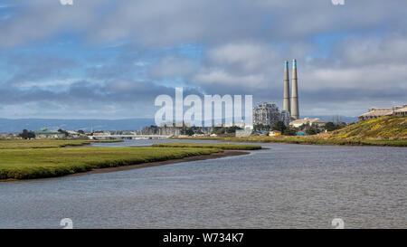 oss Landing Power Plant and Salinas River - Stock Photo