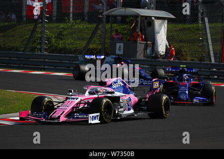 Budapest, Hungary. 04th Aug, 2019. #11 Sergio Perez, Racing Point F1 Team, Mercedes. Hungarian GP, Budapest 2-4 August 2019 in battle with the Toro Rosso Credit: Independent Photo Agency/Alamy Live News - Stock Photo