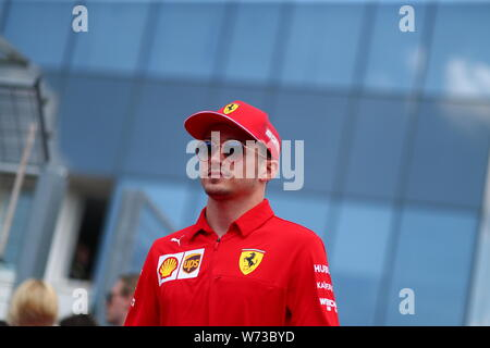 Budapest, Hungary. 04th Aug, 2019. #16 Charles Leclerc, Scuderia Ferrari. Hungarian GP, Budapest 2-4 August 2019. Credit: Independent Photo Agency/Alamy Live News - Stock Photo