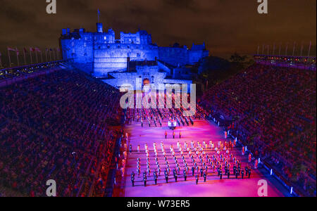 Preview opening night of the 2019 Royal Edinburgh Military Tattoo, performed on the esplanade at Edinburgh Castle, Scotland, UK - Stock Photo