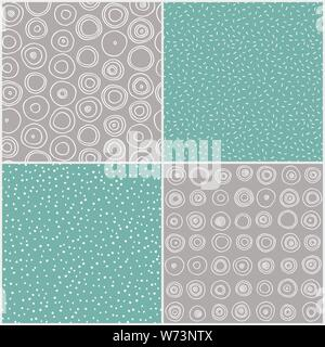 Set of seamless hand drawn patterns. Vector - Stock Photo
