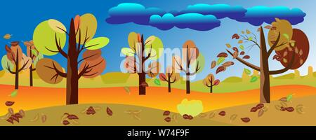 Panoramic of landscape in autumn, Vector illustration of horizontal banner of autumn landscape beatifull nature of trees with red, orange and yellow l - Stock Photo