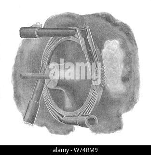 De Laval turbine wheel and nozzles (Rankin Kennedy, Electrical Installations, Vol III, 1903). - Stock Photo