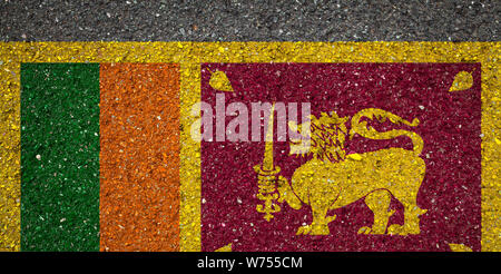 National flag of Sri Lanka on a stone background.The concept of national pride and symbol of the country. - Stock Photo