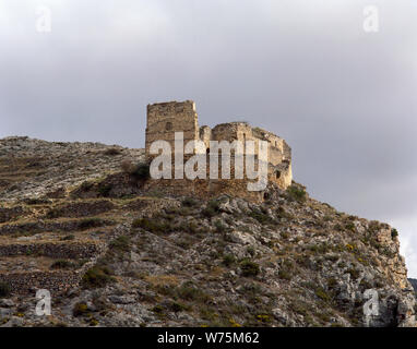 Spain. La Rioja. Muro de Aguas. Ancient Church of Saint Mary (16th century). The three remaining walls were part of the castle tower, called 'Castillo' (Castle). - Stock Photo